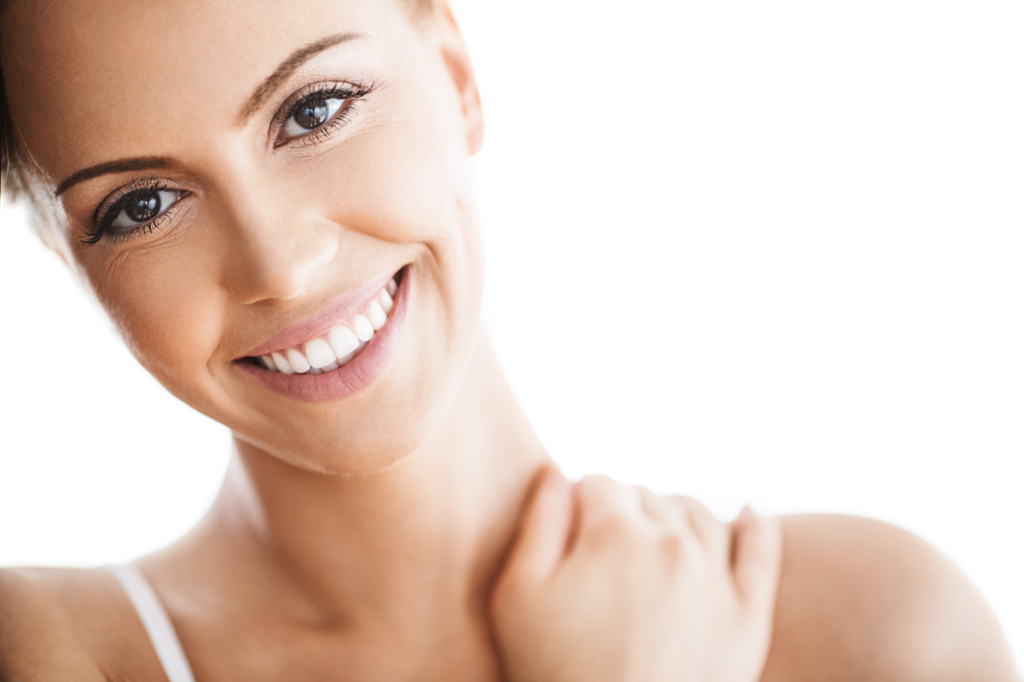 Darm und Haut lachende Frau