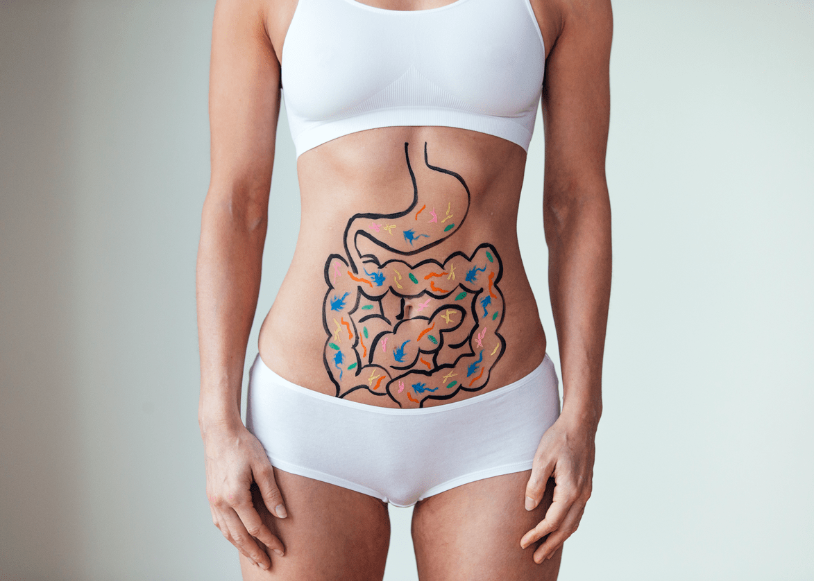 Darmflora Bakterien Frau mit Darm auf den Bauch gemalt